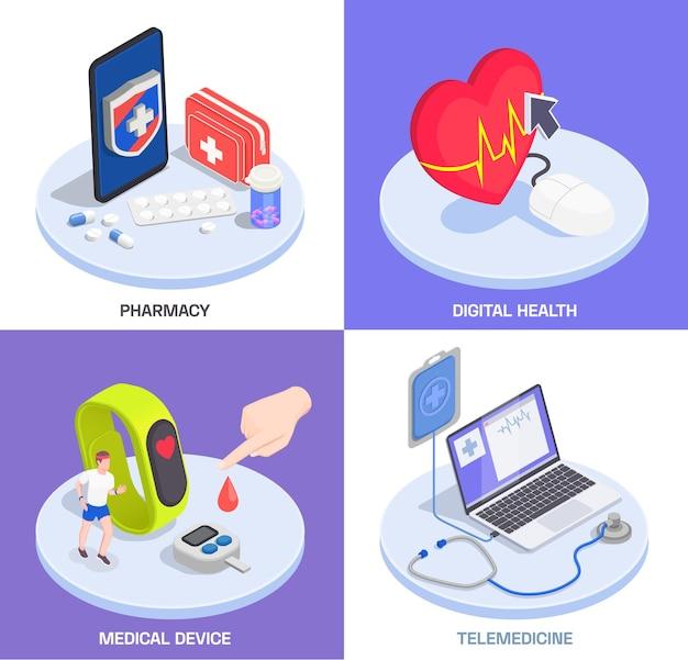 Imagens isométricas de telemedicina e saúde digital