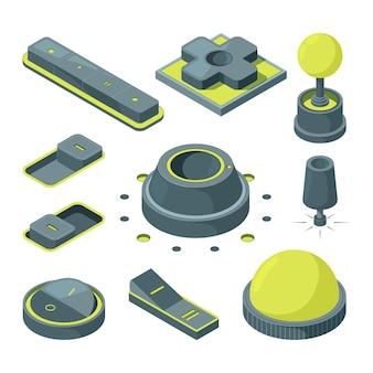 Imagens isométricas de vários botões