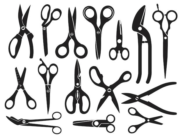 Imagens monocromáticas com diferentes tipos de tesouras para cabeleireiro, ilustração de coleção de ferramentas profissionais