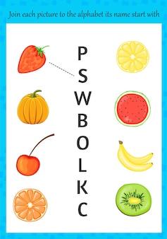 Imagens para aprender o alfabeto para crianças. estilo de desenho animado. ilustração vetorial.