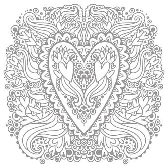 Imagens para colorir com os corações do doodle