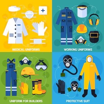 Imagens vetoriais de equipamento uniforme de proteção