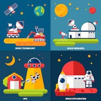 Imagens vetoriais de exploração espacial