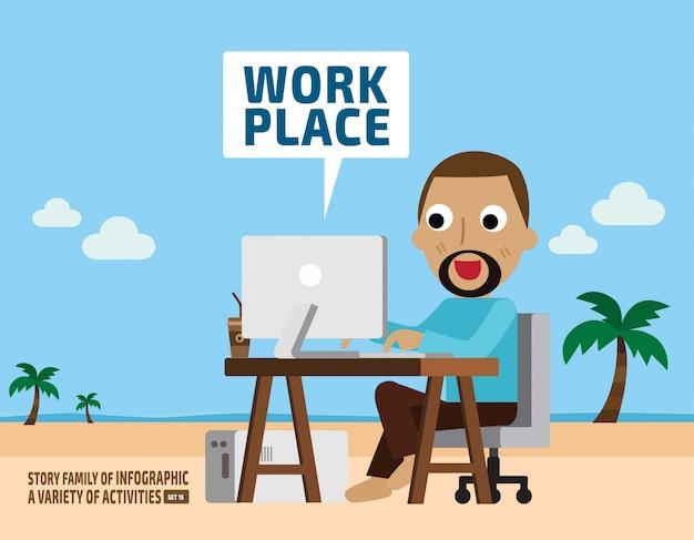 Imaginação do trabalho. conceito de negócios. elementos infográfico.