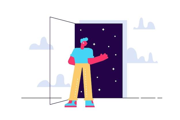 Imaginação e inspiração astrologia do espaço sideral jovem personagem masculino abrindo uma porta para o desconhecido