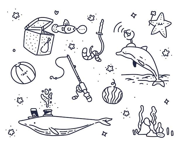 Imaginação sobre o mar. doodle fofo do mar