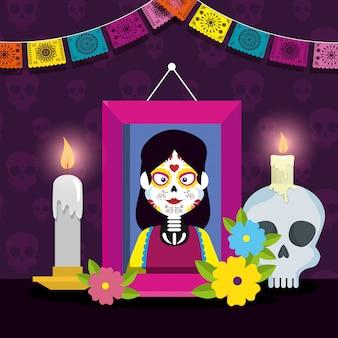 Imagine com caveira e velas para celebrar o evento