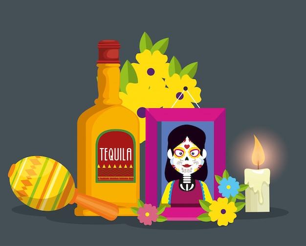 Imagine com tequila e vela para celebrar o dia dos mortos