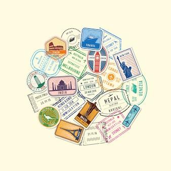 Imigração mundial e marcas de selos pós reunidos em círculo