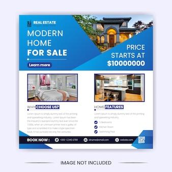 Imobiliária casa moderna para venda post de mídia social e modelo de design de banner do instagram
