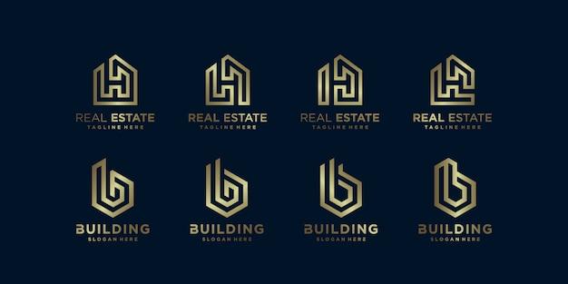 Imobiliária dourada e coleção de logotipo de construção
