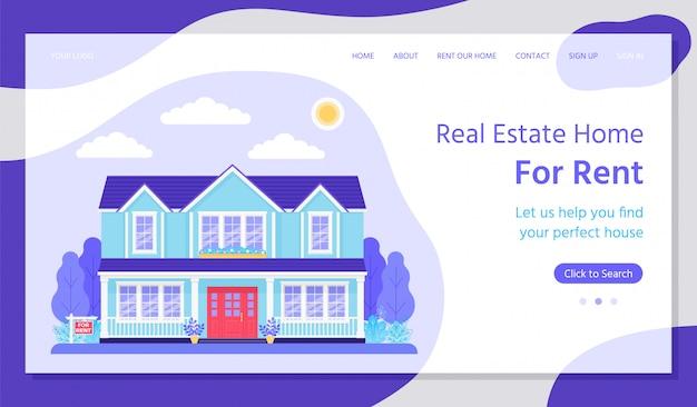Imobiliária. ilustração plana da página de destino da casa de aluguel.