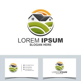 Imobiliária moderna casa jardim logotipo