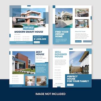 Imobiliário casa propriedade instagram post pacote ou vetor de modelo de banner quadrado da web