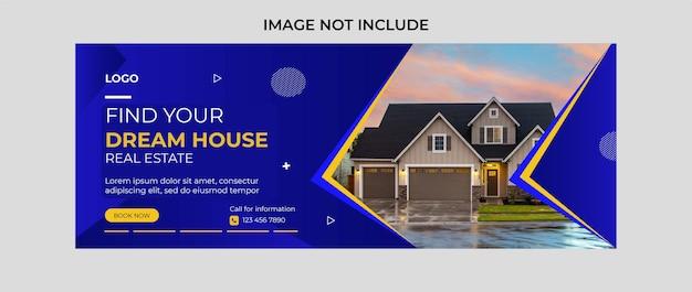 Imobiliário encontrar casa desenho de banner de capa de facebook