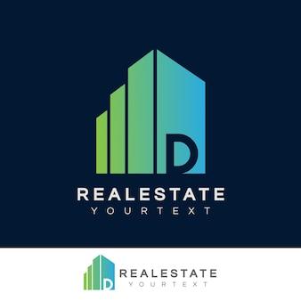 Imobiliário inicial design de logotipo da letra d
