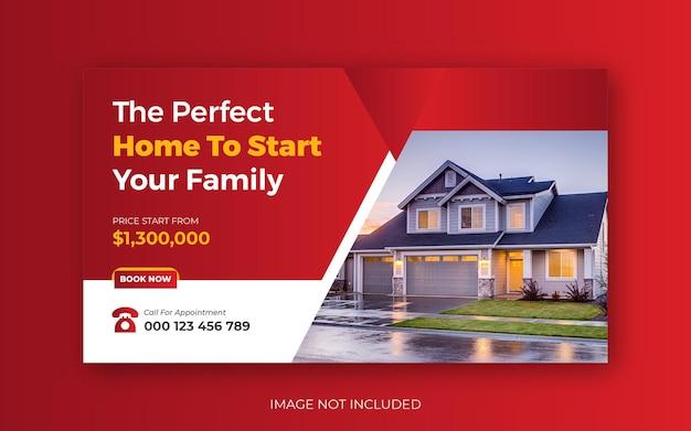 Imobiliário venda de casas modernas you tube thumbnail or web banner template design