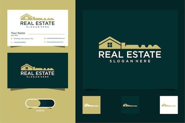 Imóveis com casa e design de logotipo chave e cartão de visita