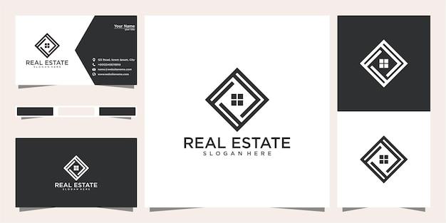 Imóveis com design de logotipo de geometria doméstica e cartão de visita