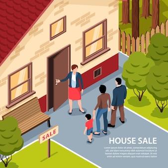 Imóveis isométricos com paisagem ao ar livre e agente abrindo a porta da casa para clientes com texto