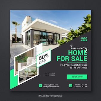 Imóveis residenciais mídia social postar modelo de banner