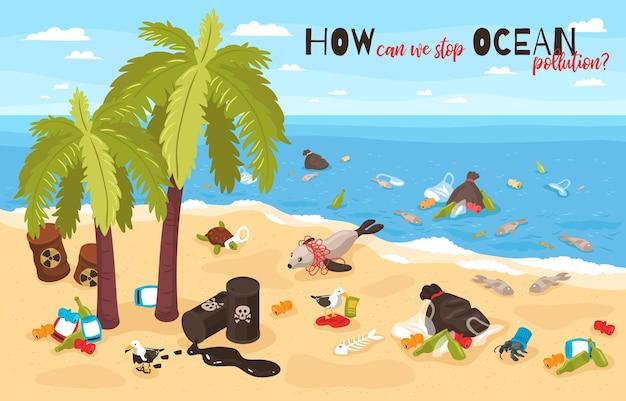 Impeça a poluição do oceano, ilustração, garrafas de plástico, lixo e barris de resíduos perigosos levados para a costa