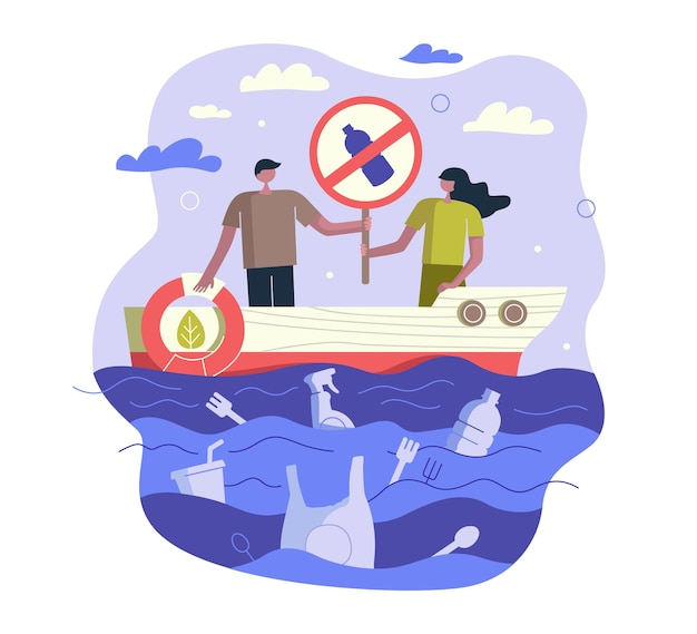 Impeça a poluição do oceano por plástico, as pessoas a bordo de um navio com lixo de sinalização e boia salva-vidas e lixo não degradável