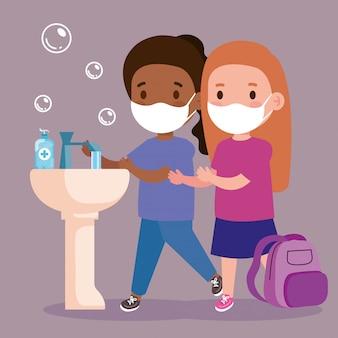 Impedir a covid 19, usando máscara médica, lave as mãos, meninas usando máscara protetora, conceito de cuidados de saúde
