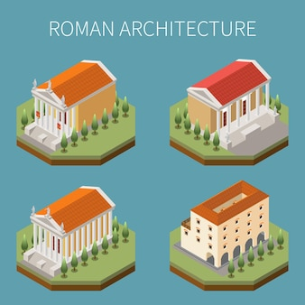 Império romano com símbolos de arquitetura ilustração isolada isométrica