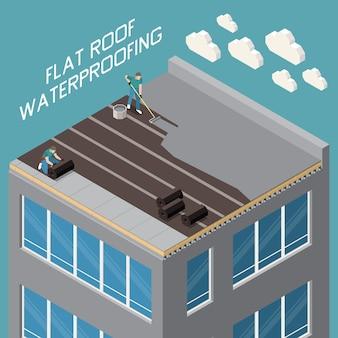 Impermeabilização de telhados planos com mastique de polímero de betume e isolamento de gradiente ruberóide closeup composição isométrica