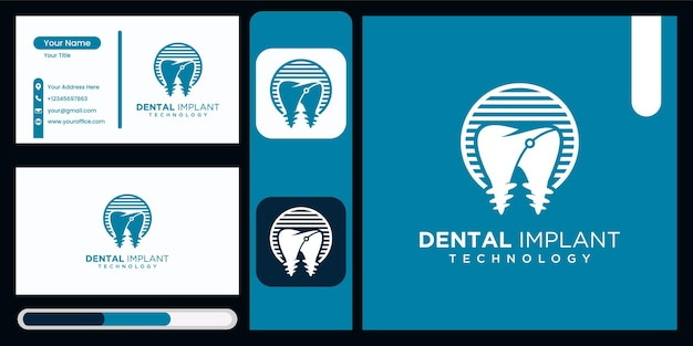 Implante dentário clínica tecnologia logotipo design implante dentário logotipo vetor ícone moderno logotipo dental