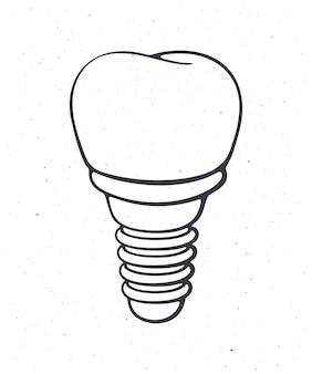 Implante dentário de dente humano contorno de ilustração vetorial símbolo de somatologia e higiene oral