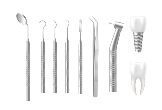 Implante e conjunto de ferramentas odontológicas isolado no branco