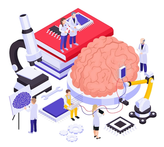 Implantes cerebrais inovadores nanotecnologias pesquisa composição isométrica