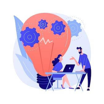 Implementação de nova ideia. pensamento criativo, soluções inovadoras, projeto de startup. colegas, parceiros discutindo estratégia de marketing.