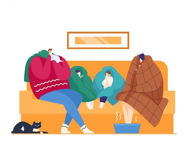 Importe-se com a febre da gripe em casa, saúde doente, ilustração. família doente homem mulher tem gripe fria, tratamento no sofá.