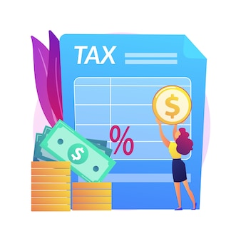 Imposição de taxa. pagamento por cheque. contribuinte legal. gerenciando orçamento. vida cara, gastadores, gastando recursos. dia do salário. ganhos em dinheiro. ilustração isolada da metáfora do conceito.