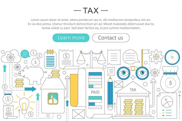 Imposto, pagar impostos conceito de linha plana