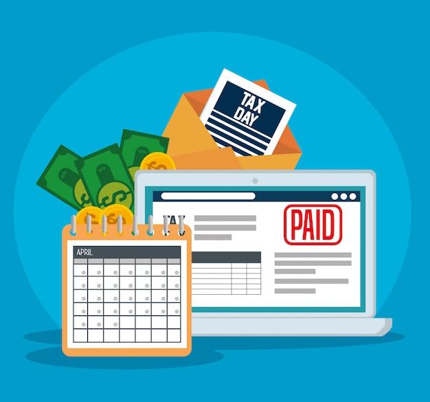 Imposto sobre serviços financeiros com laptop e calendário