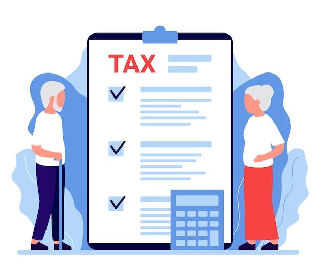 Impostos, taxas, pagamento de impostos, seguro de pensão sênior imposto de renda pessoal cobrando crédito de impostos