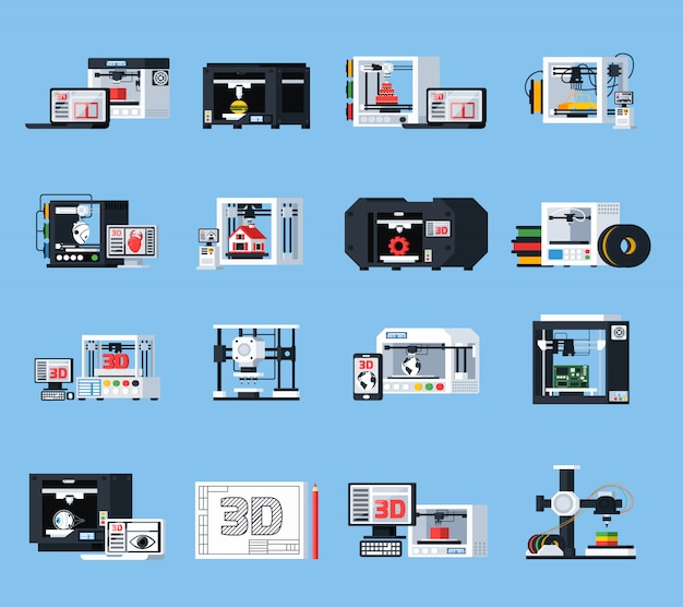 Impressão 3d de ícones ortogonais