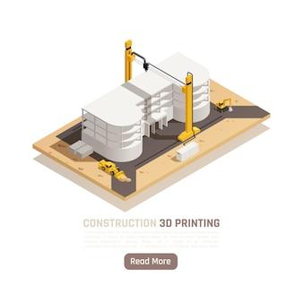 Impressão 3d de ilustração isométrica do processo de construção de muitos andares