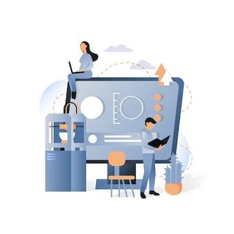 Impressão 3d e ilustração do conceito de fabricação aditiva