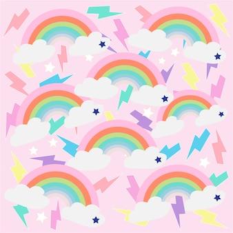 Impressão arco-íris rosa fundo