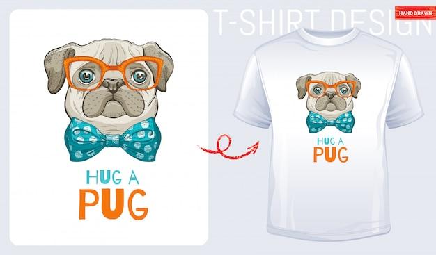 Impressão bonito do t-shirt do cão do pug