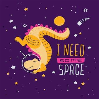 Impressão bonito dos desenhos animados com dinossauro de cabeça para baixo t-rex no espaço