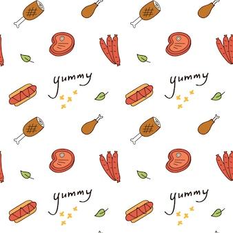 Impressão bonito e padrão com vários alimentos
