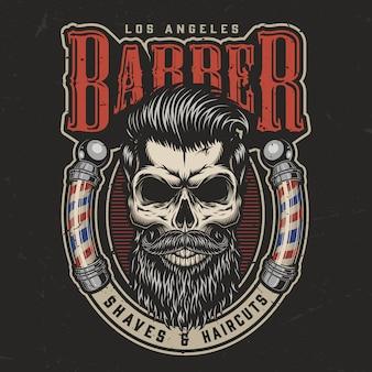 Impressão colorida de barbearia vintage