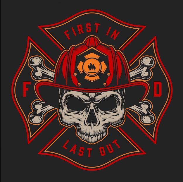 Impressão colorida de bombeiro vintage com eixos de inscrições e crânio no capacete de bombeiro na ilustração de fundo preto