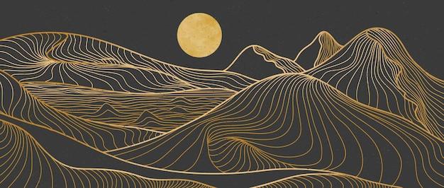Impressão da arte da linha de montanha. paisagens de fundos estéticos contemporâneos de montanha abstrata. com montanha, floresta, mar, horizonte, onda. ilustrações vetoriais